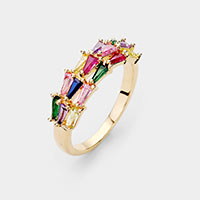 Gold Plated 3Rows Triangle Colorful CZ Ring