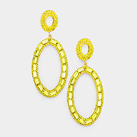 Crystal Rectangle Stone Pave Oval Evening Earrings