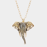 Antique Metal Elephant Pendant Long Necklace