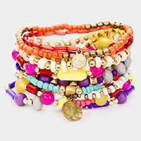 11PCS - Colorful Strand Bead Metal Layered Stretch Bracelet