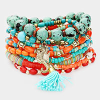 10PCS - Strand Bead Sea Horse Tassel Layered Bracelet