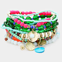 10PCS - Colorful Strand Bead Metal Layered Stretch Bracelet