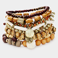 9PCS - Strand Wood Ball Bead Layered Stretch Bracelet