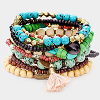 11PCS - Colorful Strand Bead Metal Tassel Layered Stretch