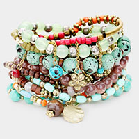 9PCS - Strand Bead Charm Layered Stretch Bracelets
