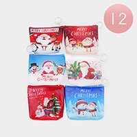 12PCS - Christmas Coin Purse Key Chains
