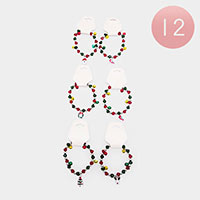 12PCS - Crystal Bead Christmas Charm Stretch Bracelets