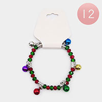 12PCS - Crystal Bead Christmas Bell Charm Stretch Bracelets