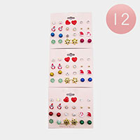 12 Set of 12- Christmas Stud Earrings
