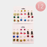 12 Set of 12 - Christmas Stud Earrings
