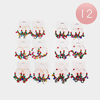12PCS - Christmas Ball Open Circle Dangle Earrings