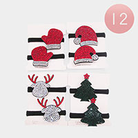 12PCS - Rhinestone Christmas Hair Bands