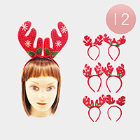 12PCS - Christmas Rudolph Headbands