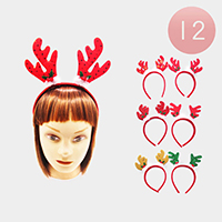 12PCS - Christmas Ear Horn Headbands