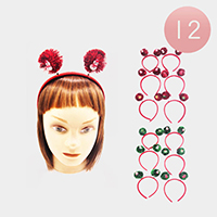 12PCS - Christmas Pom Pom Snowman Headbands