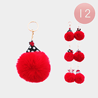 12PCS - Christmas Themed Pom Pom Key Chains