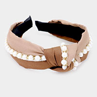 Two Tone Color Pearl Knot Headband
