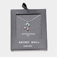 Secret Box _ 14K Gold Dipped CZ Cherry Pendant Necklace