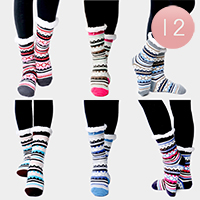 12PAIRS - Colorful Pattern Sherpa Slipper Socks