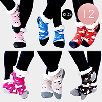 12PAIRS - Sheep  Pattern Sherpa Slipper Kids Socks