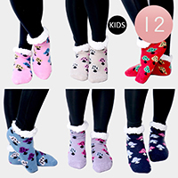 12PAIRS - Tree  Pattern Sherpa Slipper Kids Socks
