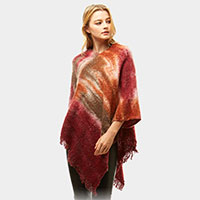 Multi Watercolor Poncho