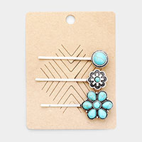 3PCS- Western Gemstone Bobby Pins