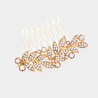 Round Rhinestone Crystal Sprout Hair Comb