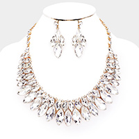 Marquise Crystal Bib Collar Evening Necklace