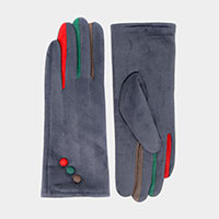 Multi Color Button Suede Smart Gloves