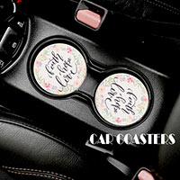2PC - Floral Message Car Coasters