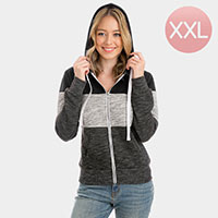 Color Block Zip Up Hoodies Sweater