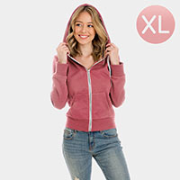 Fuchsia Zip Up Hoodies Sweater