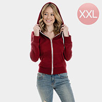 Burgundy Zip Up Hoodies Sweater