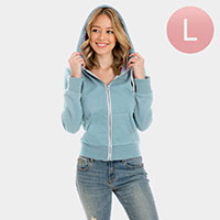 Light Blue Zip Up Hoodies Sweater