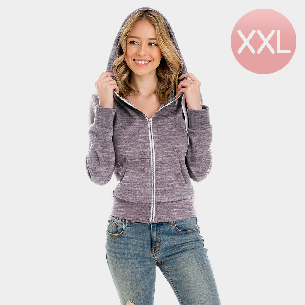 Grey Zip Up Hoodies Sweater