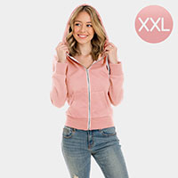 Pink Zip Up Hoodies Sweater