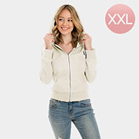 Ivory Zip Up Hoodies Sweater
