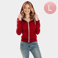 Red Zip Up Hoodies Sweater