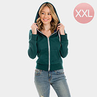 Dark Green Zip Up Hoodies Sweater