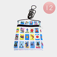 12PCS- Multi Card Print Cossbody Bags