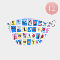 12PCS- Multi Card Print Coin Purse Key Chains
