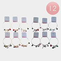 12PCS - Christmas Theme Charm Bangle Bracelets