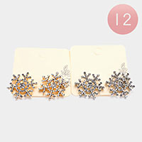 12PCS - Rhinestone Snowflake Stud Earrings