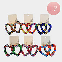 12PCS - Fabric Wrapped Heart Dangle Earrings