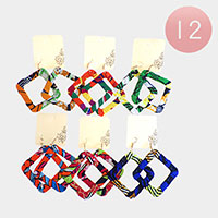12PCS - Fabric Wrapped Dangle Earrings