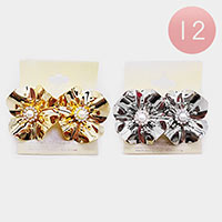 12PCS - Pearl Metal Flower Stud Earrings