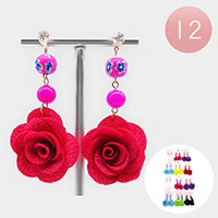 12PCS - Rose Ball Drop Dangle Earrings