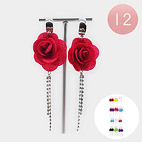 12PCS - Rose Rhinestone Fringe Drop Earrings