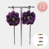 12PCS - Rose  Fringe Drop Earrings